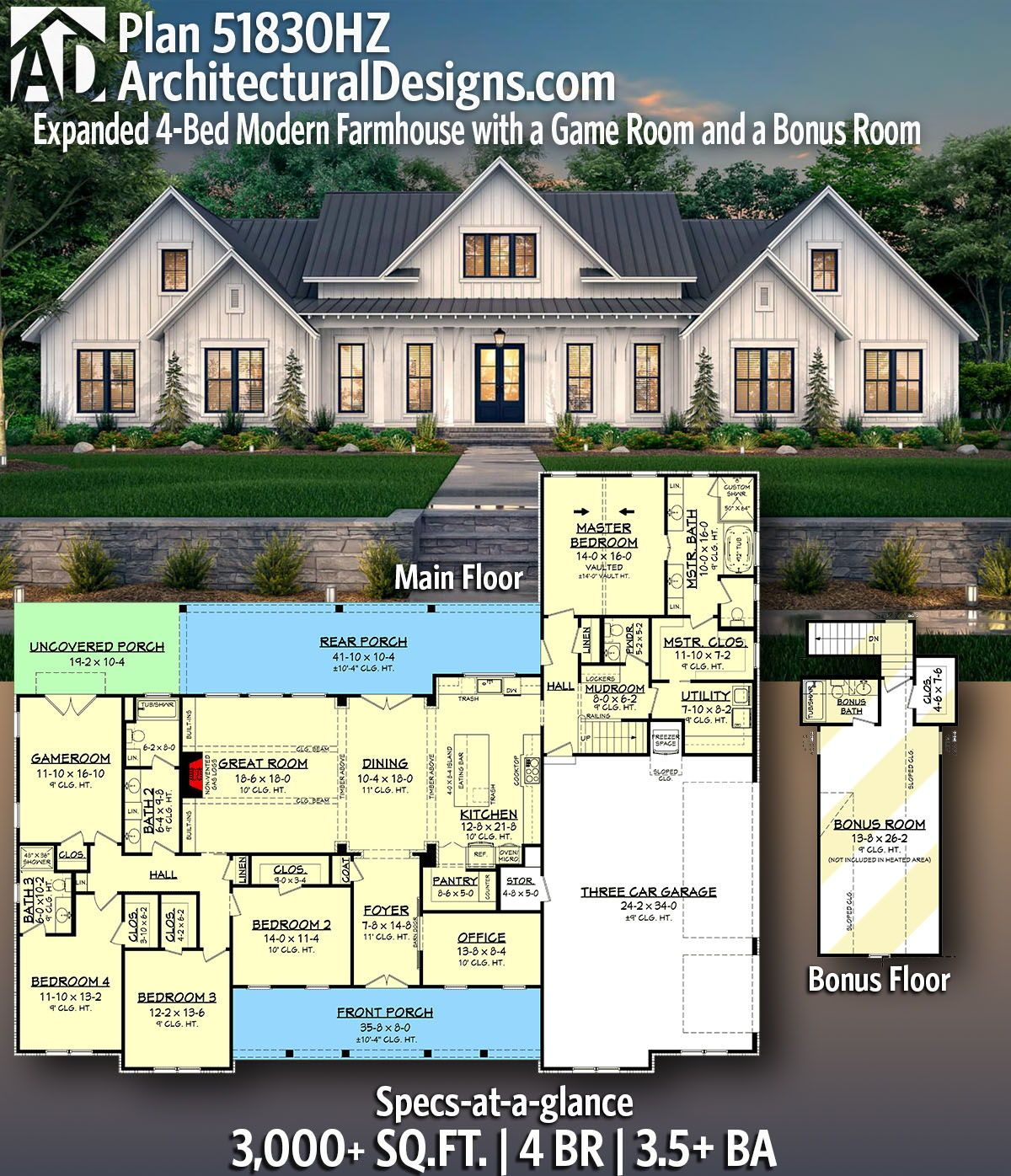 Plan 51830hz Expanded 4 Bed Modern Farmhouse With A Game Room And A Bonus Room Modern Farmhouse Plans Farmhouse Plans Family House Plans