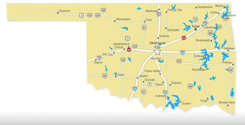 Put This Interactive Map Of Oklahomas Major Lakes To Good Use As - Ok map