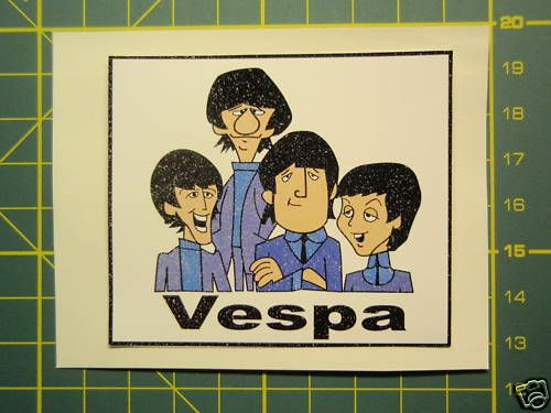 VESPA PIAGGIO BEATLES CARTOON STICKER GS,PX,GL,LML,GT