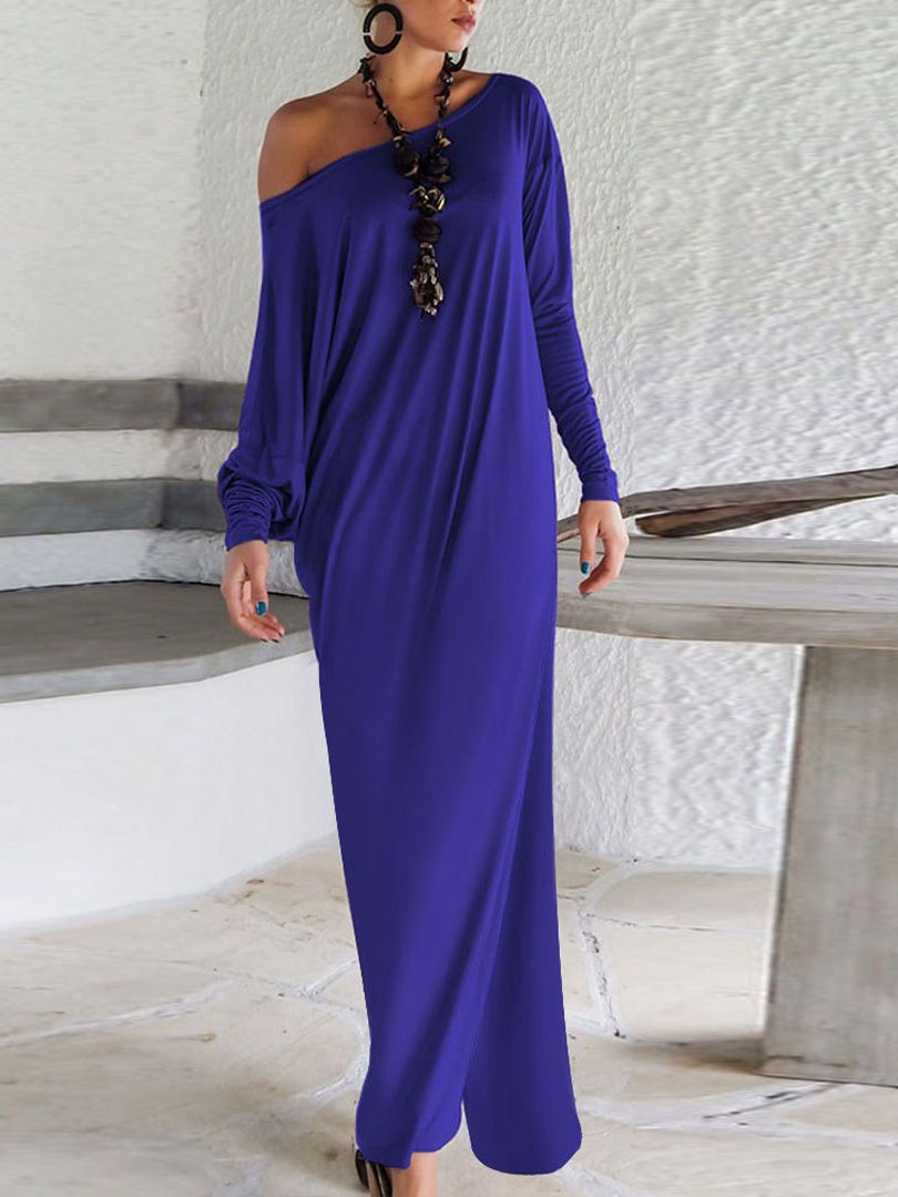 Blue one shoulder long sleeve ruched split maxi dress fashion