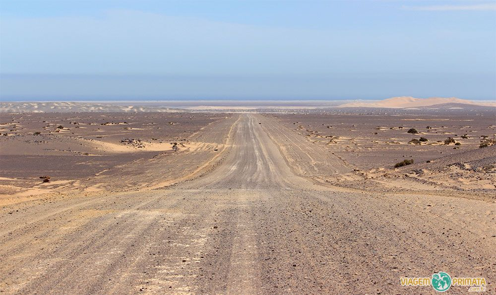 Caminho para a costa, onde as dunas do Namib Desert (Deserto da Namíbia) encontram com o mar na Skeleton Coast, África