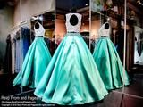White/Mint Two Piece Ball Gown-Pockets-Lace Crop Top - Rsvp RA - Long Gown - Rsvp Prom and Pageant Atlanta, Georgia GA - 2