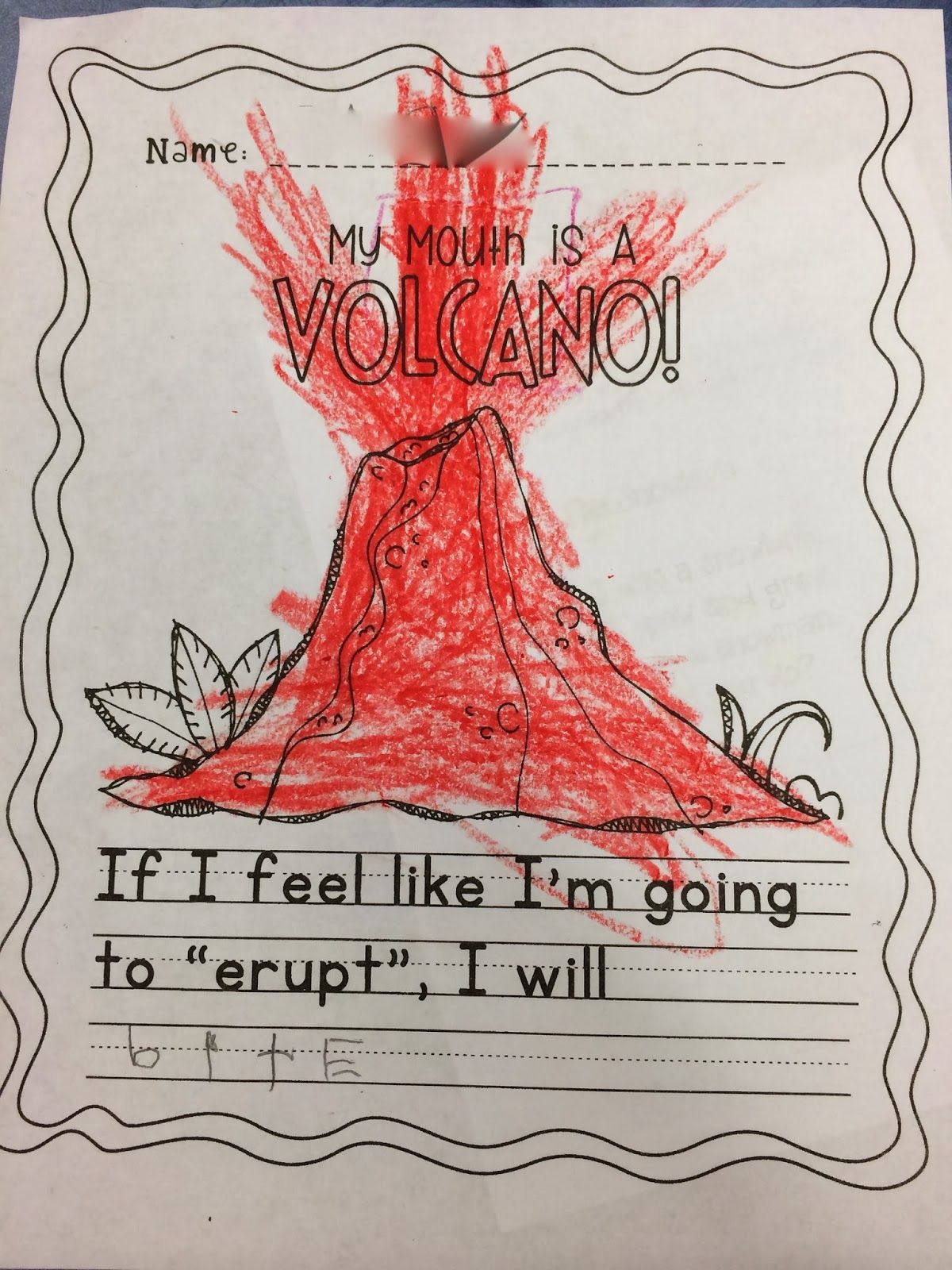 Behavior Volcano Worksheet