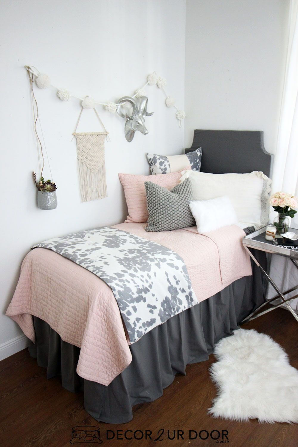 Blush Grey Cowhide Dorm Bedding Set In 2020 Dorm Bedding Sets Pink Dorm Rooms Dorm Bedding