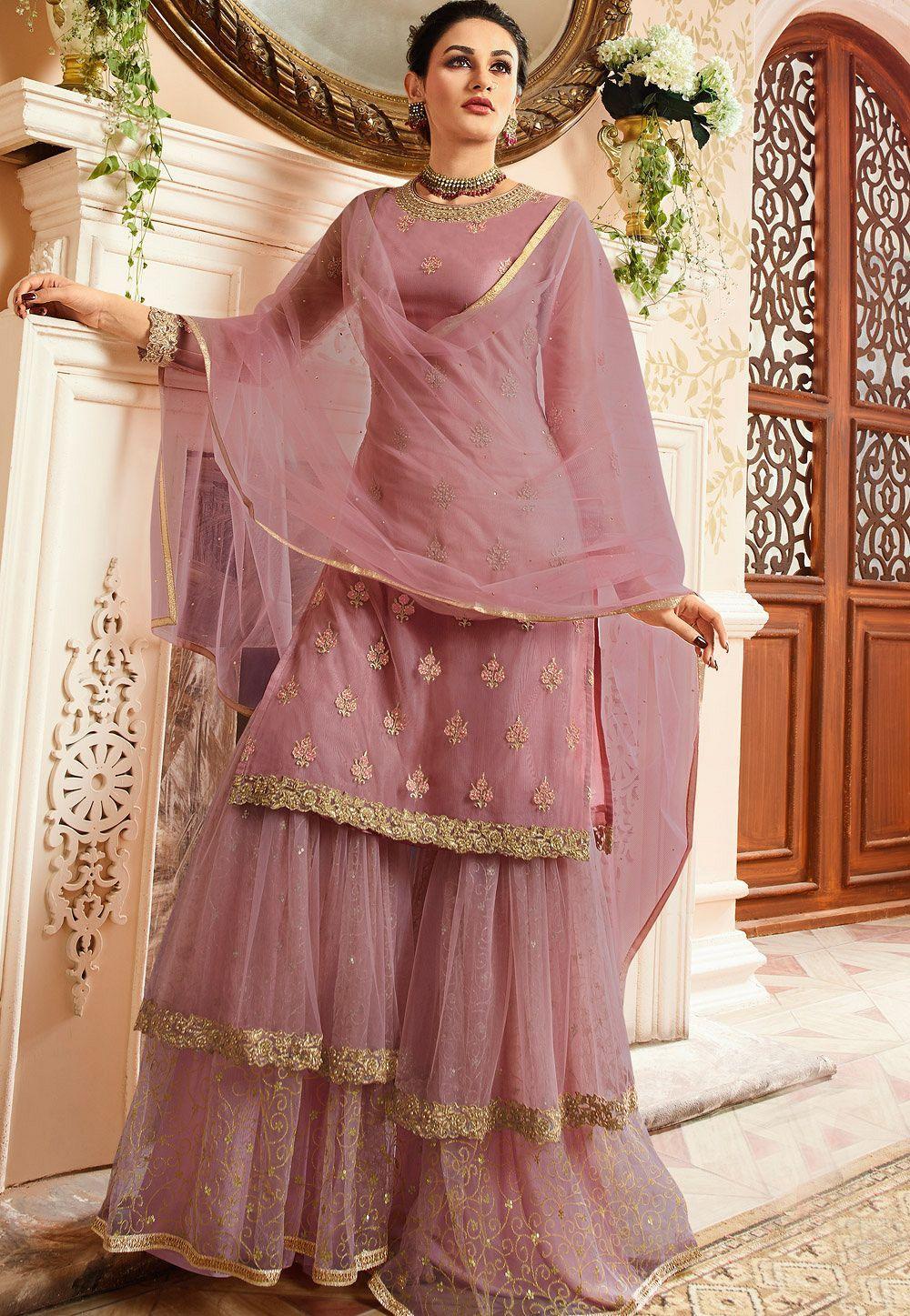 66510da243 Purple satin net embroidered sharara style pakistani suit 15305 in ...