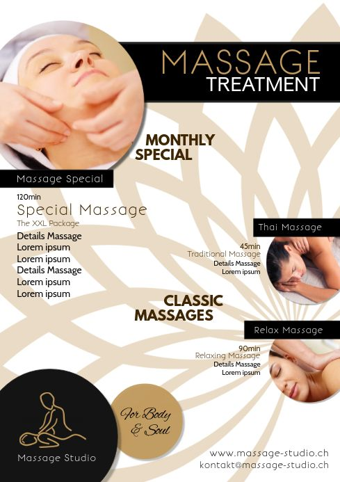Massage Treatment Therapy Beauty Studio Ad -   13 beauty Therapy advertising ideas