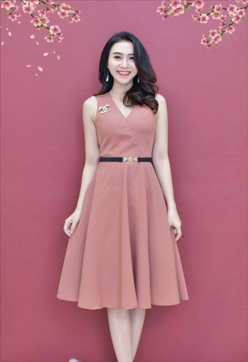 8a4cf73ab7 damvayxinh.net - Đầm xòe có túi kèm chanel màu hồng xinh xắn