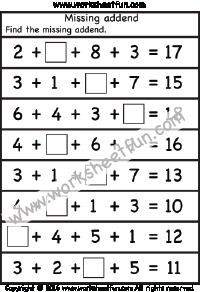 missing addend first grade worksheets pinterest worksheets homeschool and school. Black Bedroom Furniture Sets. Home Design Ideas
