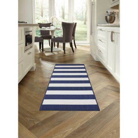 Maples Cabana Stripe Area Rugs Or Runner Collection Blue