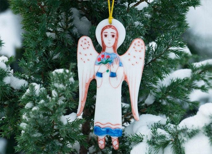 Glass Pendant Angel Only one in stock! Order here: http://bit.ly/2g8L6nw  #CatalogOfGoodDeeds #CatalogOfStElisabethConvent #Christian #Christianity #workshop #ourworkshops #StElisabethConventWorkshop #monastery  #orthodox #orthodoxy #church #orthodoxchurch #easternorthodoxy #orthodoxculture #religion #Christmas #MerryChristmas #feast #gift #angel #handmadeitems #blacksmithworkshop #forgeditems #handmadeitems #ForgedProducts #glass #handmadeitems