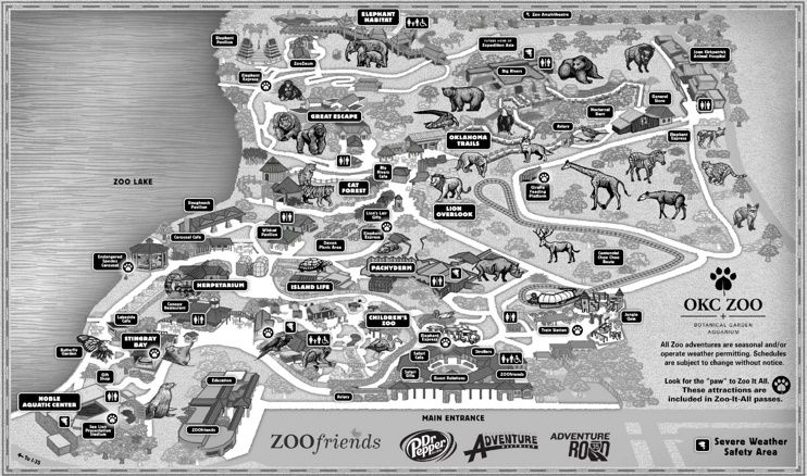 Oklahoma City Zoo map Maps Pinterest City zoo Oklahoma city