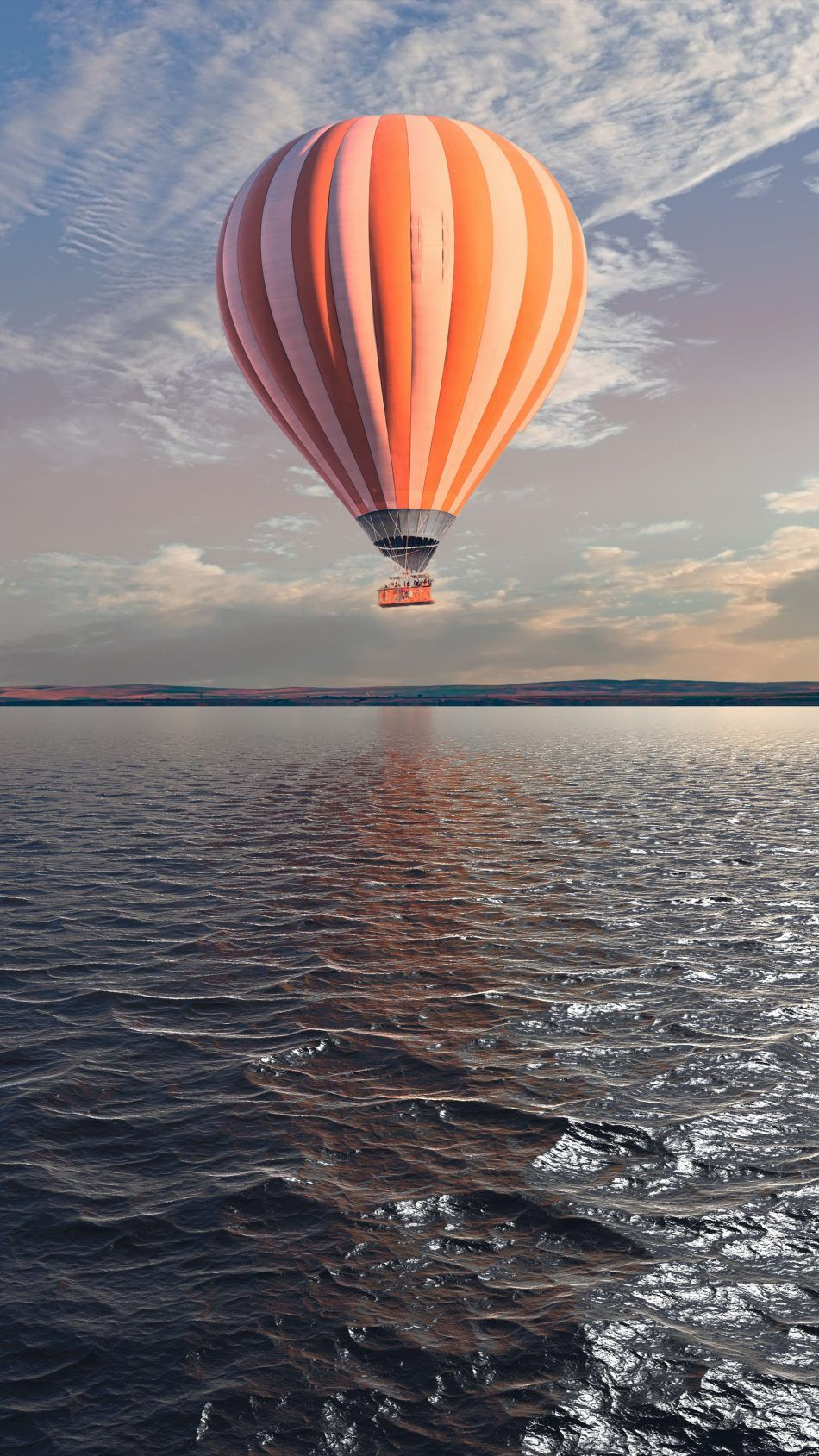 Hot Air Balloon Water River Sunset Hot Air Balloon Ultra Hd 4k