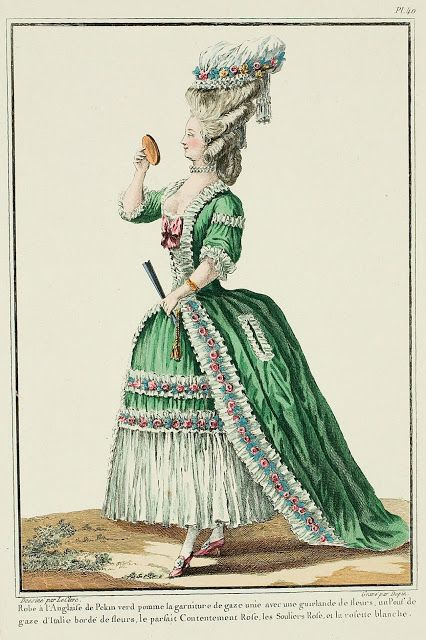 Galerie Des Modes 13e Cahier 4e Figure Robe A L Anglaise Of Apple Green Pekin The Trim Of Plain Gauze Wi 18th Century Fashion Fashion Plates Ancient Dress