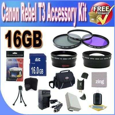 Canon T3 Accessory Saver Kit (58mm Wide Angle Lens + 58mm 2X Telephoto Lens + 58mm 3 Piece Filter Kit + 16GB SDHC Memory + Extended Life Battery + Ac/Dc Charger + USB Card Reader + Deluxe Camera Case w/Strap + Microfiber Cleaning Cloth + LCD Screen Protectors + Mini Tripod + Accessory Saver Bundle!) by BVI. $64.31. Kit Includes! 1- 16GB SDHC Memory Card (Don't Miss a Memory!) 1- USB SDHC Memory Card Reader (Download Images Quicker!) 1- 58mm UV, Florescent, Pola...