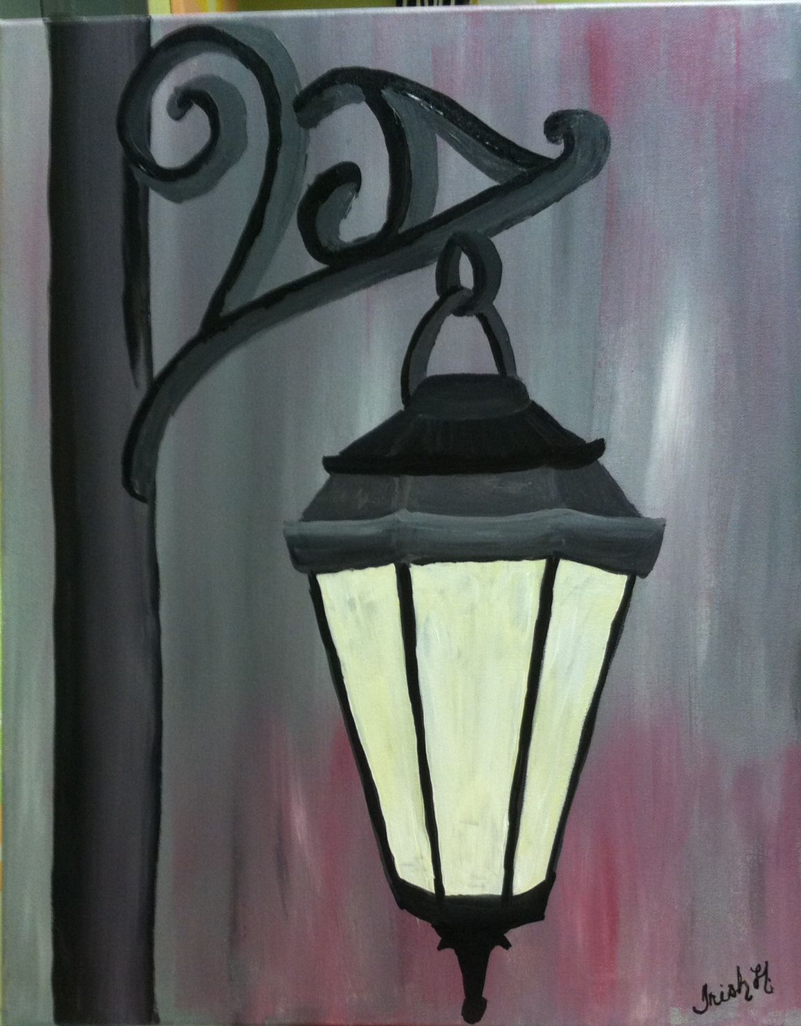 Acrylic painting lamp post 16x20 | painting | Pinterest | Painting ... for Lamp Post Painting  29jwn