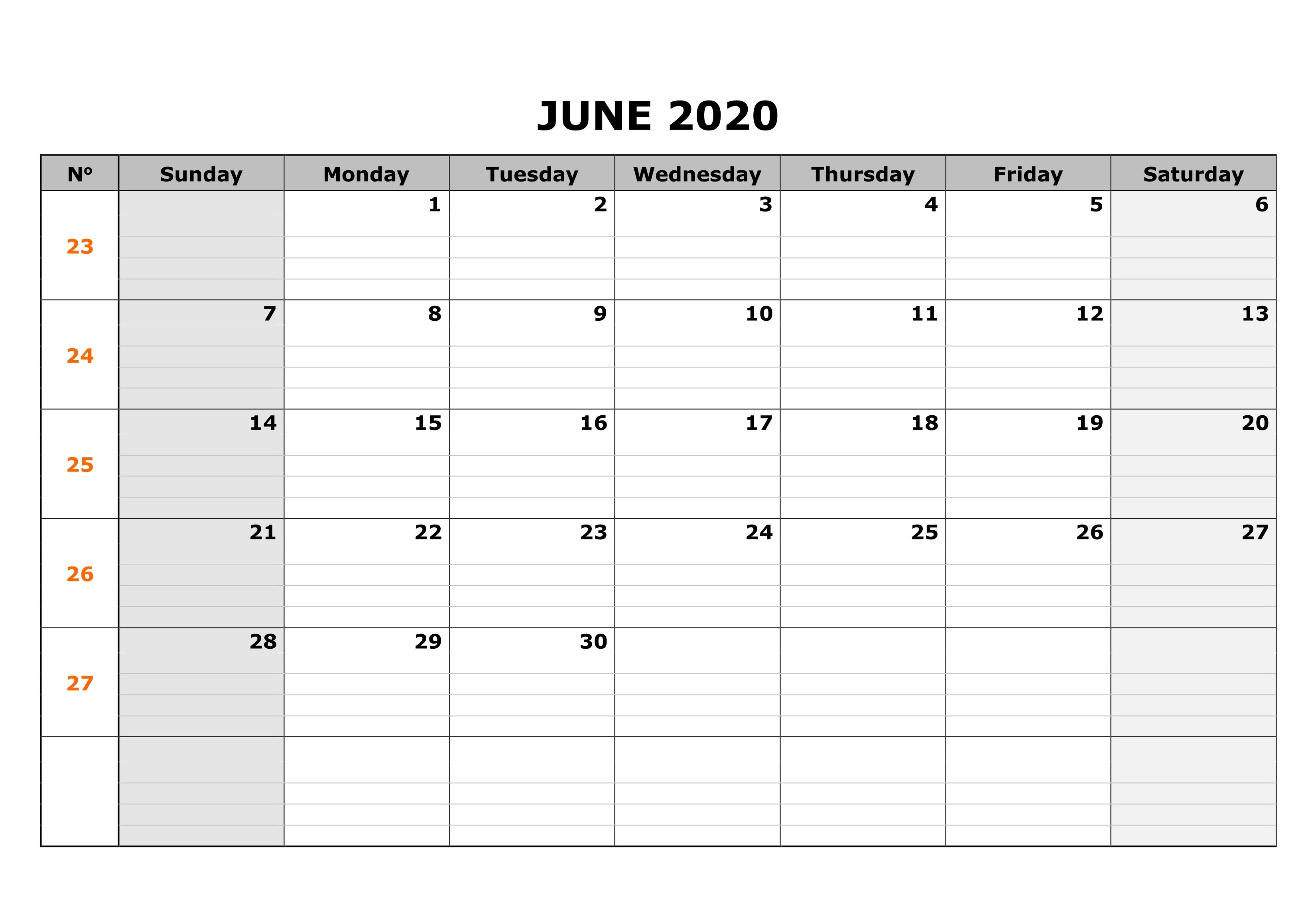 June Blank Calendar For Worksheet In