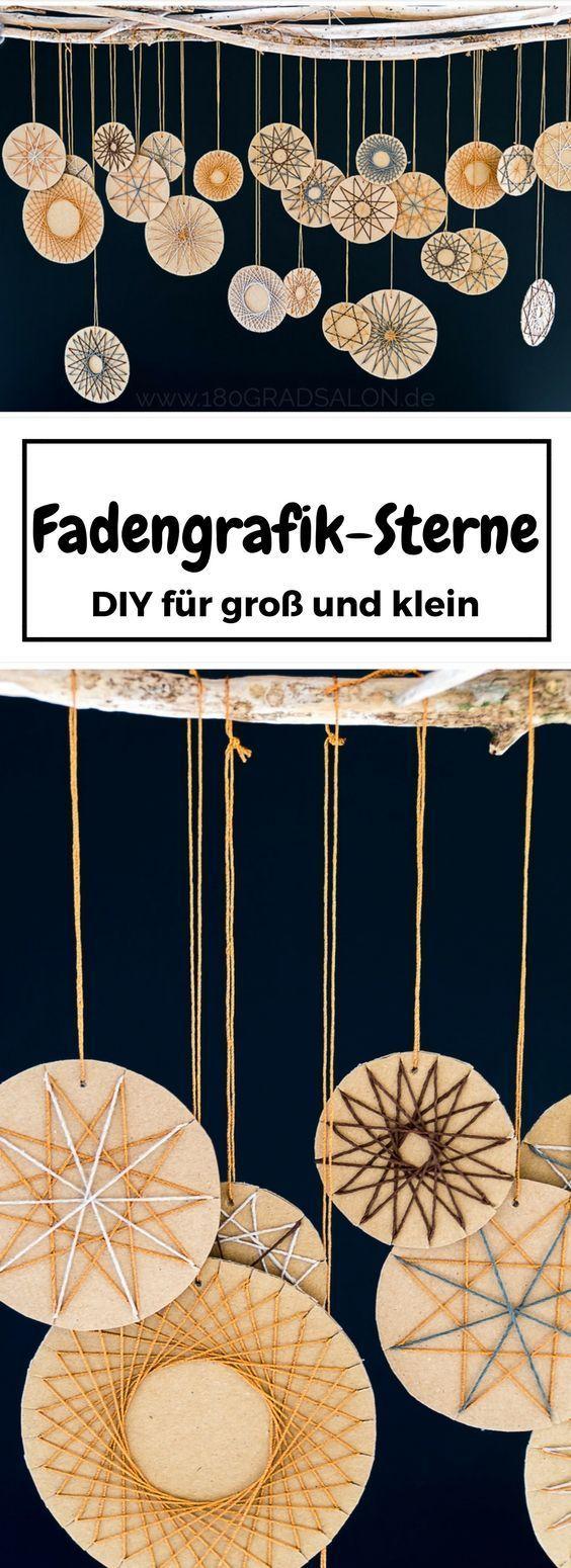 Fadengrafik Sterne aus Bäckergarn - Adventsdeko basteln #adventskranzideenkinder