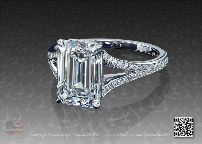 Emerald cut diamond solitaire platinum engagement ring with split shank by  Leon Mege