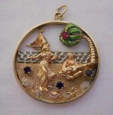 1ff4918d4 HUGE Vintage 14k Gold HAWAII BEACH SCENE W/ JEWELS Bracelet Charm 12.5 g  #18048H | eBay