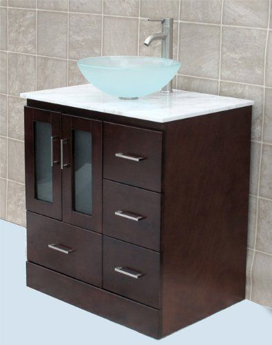 Solid Wood  Bathroom Vanity Cabinet Glass Vessel Sink Faucet MO - 30 bathroom vanity with sink