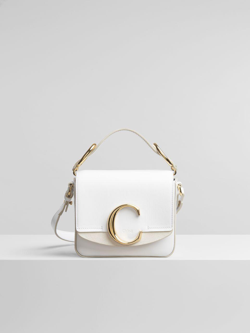 66c4824eba6 Chloé - Mini Chloé C bag in white shiny   suede calfskin ( 1