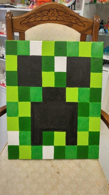 Mindcraft on canvas.  Painted at The Painted Turtle Pottery Studio