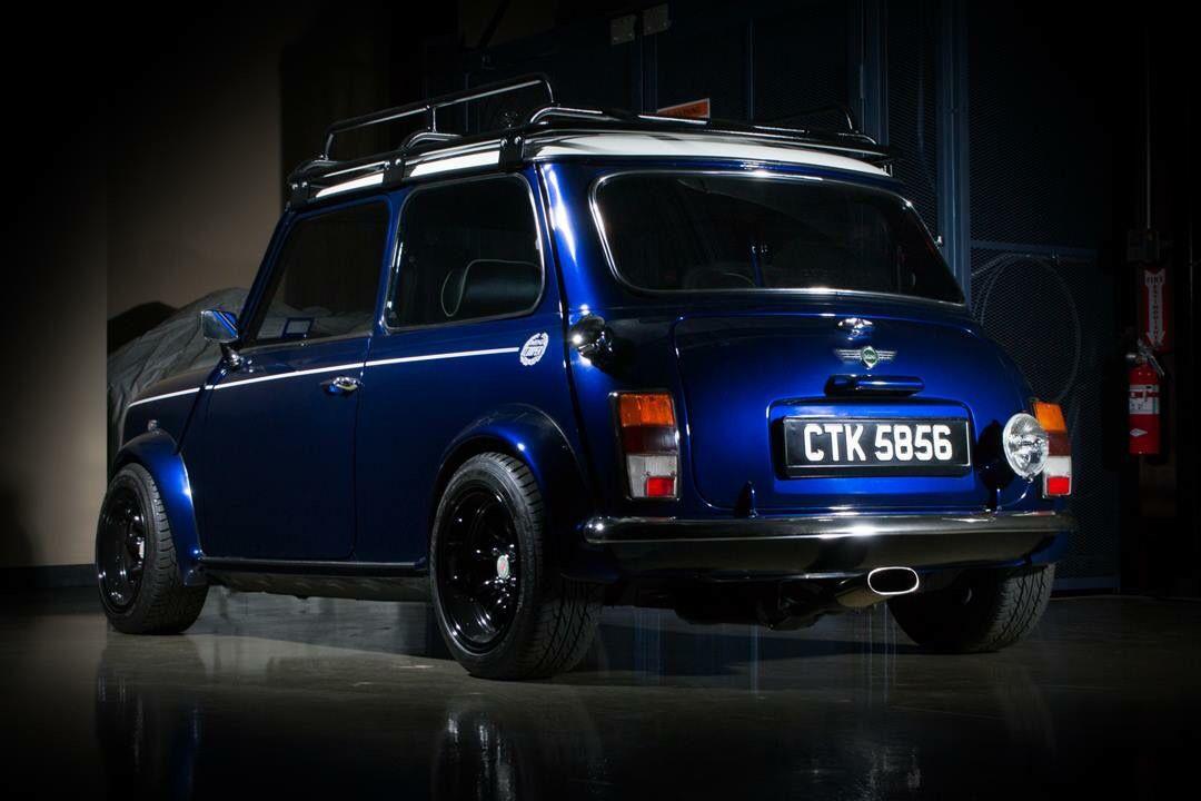 Blue Mini Roof Rack Back Left Centre Exhaust Mini Cooper