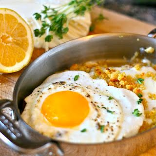 Braised Leeks with mozzarella, Dijon breadcrumbs, and a fried egg. Just like the dish at FnB in Scottsdale!