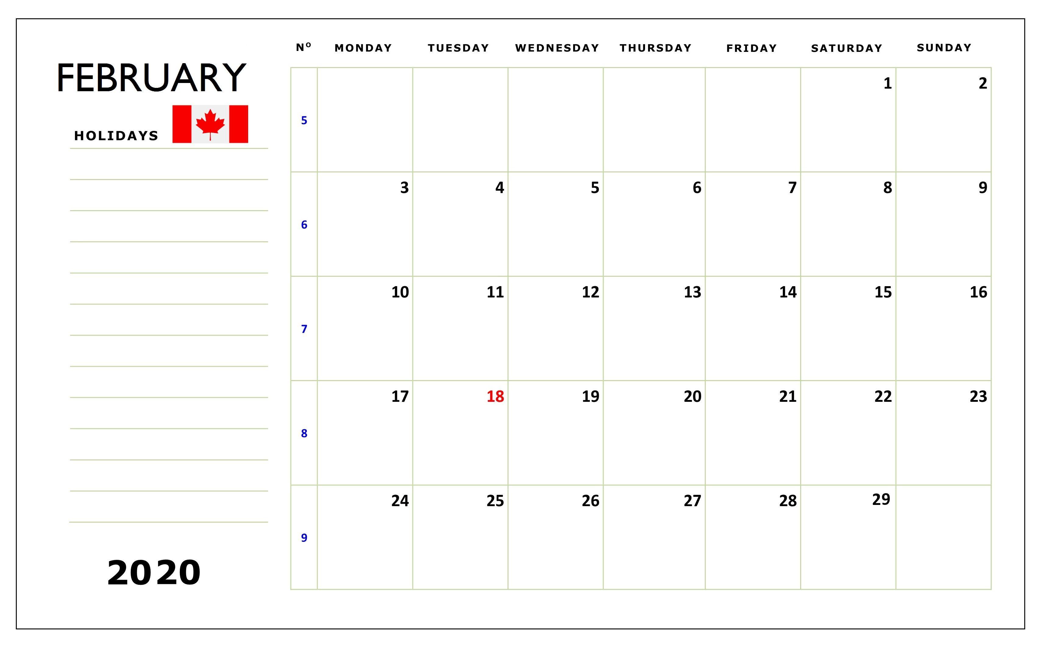 February 2020 Calendar Canada With Bank, Public, Federal