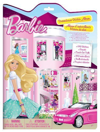 Barbie dreamhouse sticker album 490 stickers 36 dolls and stencils included glossy and fabulous new in 2013 fun design playtime companion great for travel