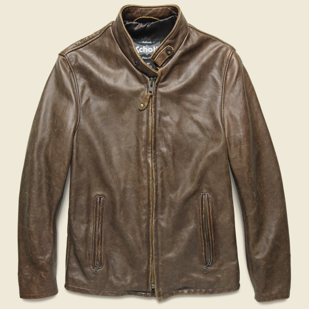 Cowhide Leather Café Racer Jacket Brown in 2020 Cafe
