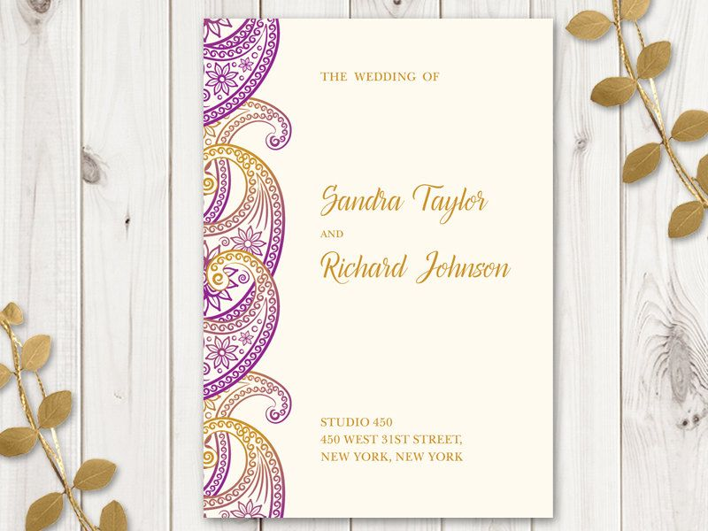 Wedding Program Template Paisley Purple Gold DIY Printable - Wedding invitation templates: wedding program template word