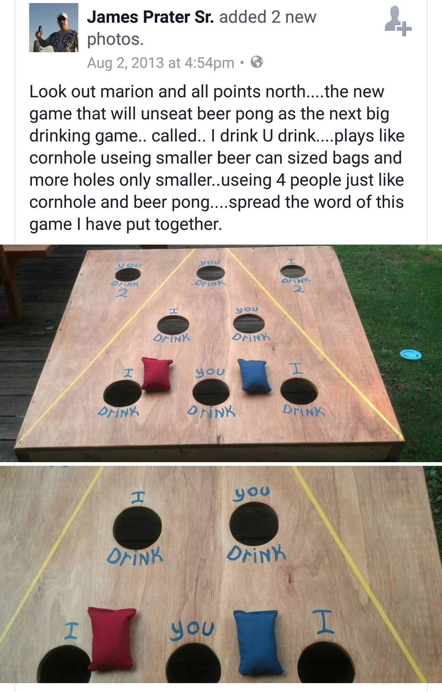For anyone that wants to make the cornhole drinking game
