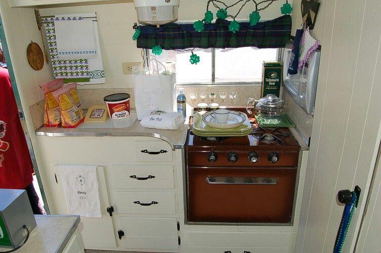 1964 Aloha Travel Trailer Kitchen Area At Back End Vintage Aloha Vintage Camper Rv Interior