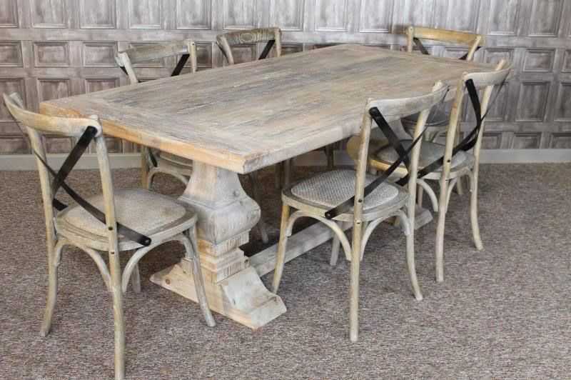 distressed limed elm dining table kitchen table white washed 2