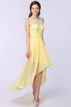 1148d6f50aa Robe jaune court devant long derrière bustier dentelle pour mariage ...