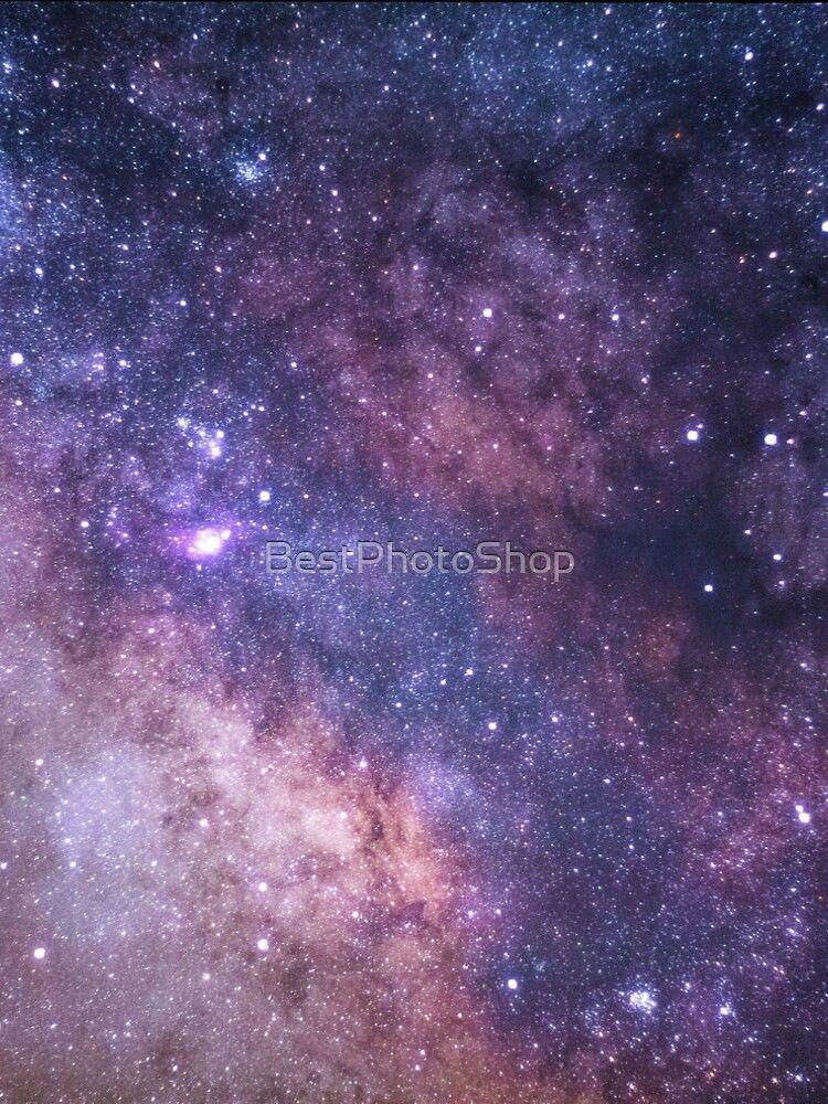 'Peachy, Purple, Starry, Shiny Galaxy Print' A-Line Dress by BestPhotoShop