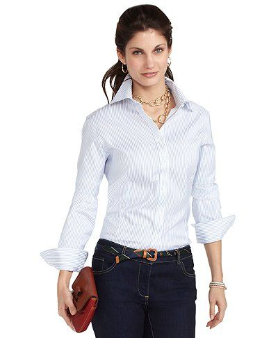 Non-Iron Fitted Multistripe Dress Shirt with XLA | Brooks Brothers $49.25
