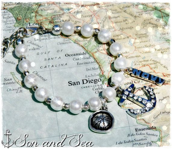 US Navy pearl charm bracelet by Son and Sea  FREE US shipping  by sonandsea, $24.00