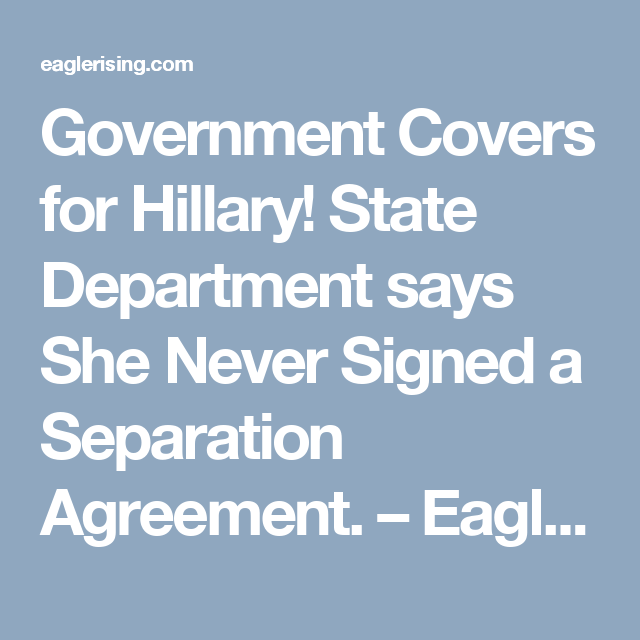 Government Covers For Hillary State Department Says She Never