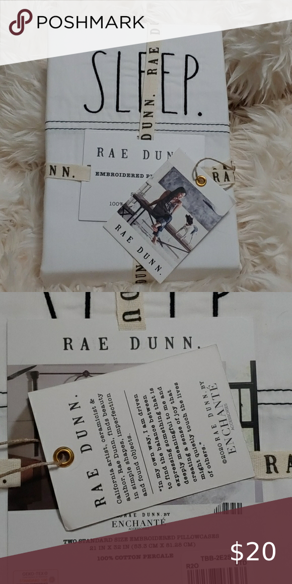 "Rae Dunn Set of 2 Standard White Pillowcases SLEEP Embroidered 21/"" x 32/"""