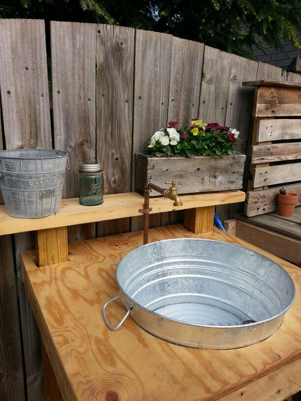 Outdoor sink made from scrap wood galvanized wash tub for Outdoor kitchen sink