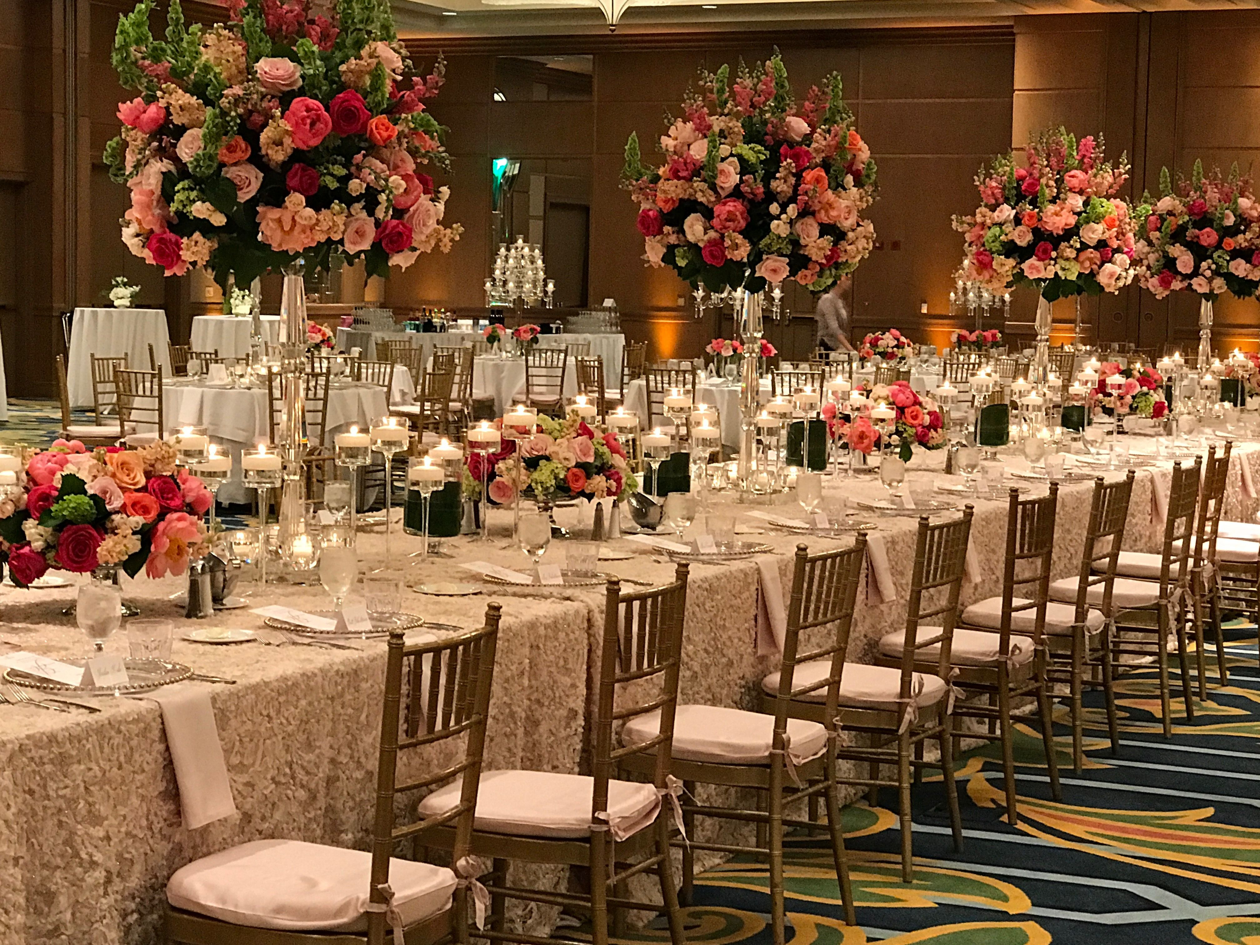Family Royal Head Table floral and décor by Blooming