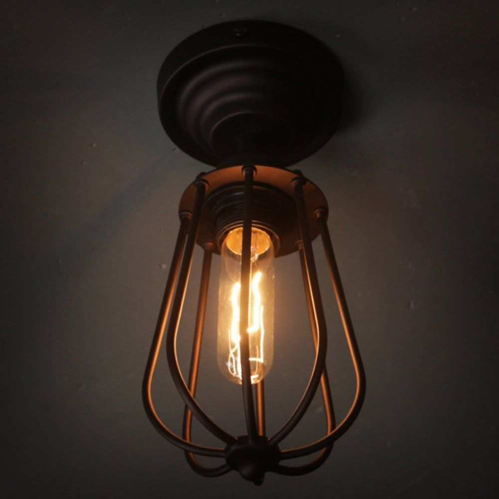 Vintage style iron ceiling lamp flush mount retro grapefruit lights