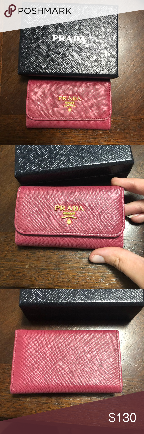 56fc87cd7524b1 FINAL PRICE Authentic Prada key holder Gorgeous pink saffiano leather key  holder by prada. This