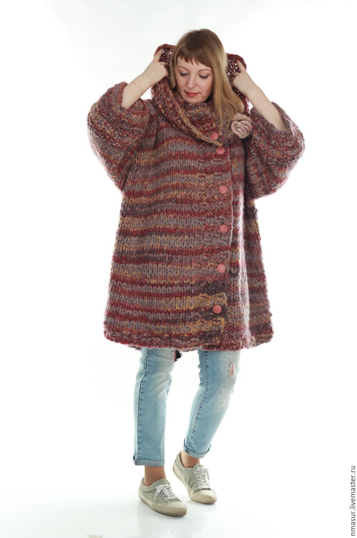 купить вязаное пальто из меланжевой пряжи Oversize однотонный
