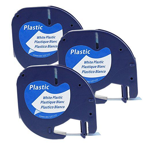 3 Pack Compatible Dymo Letratag Refill Tape 91331 S0721610 Black