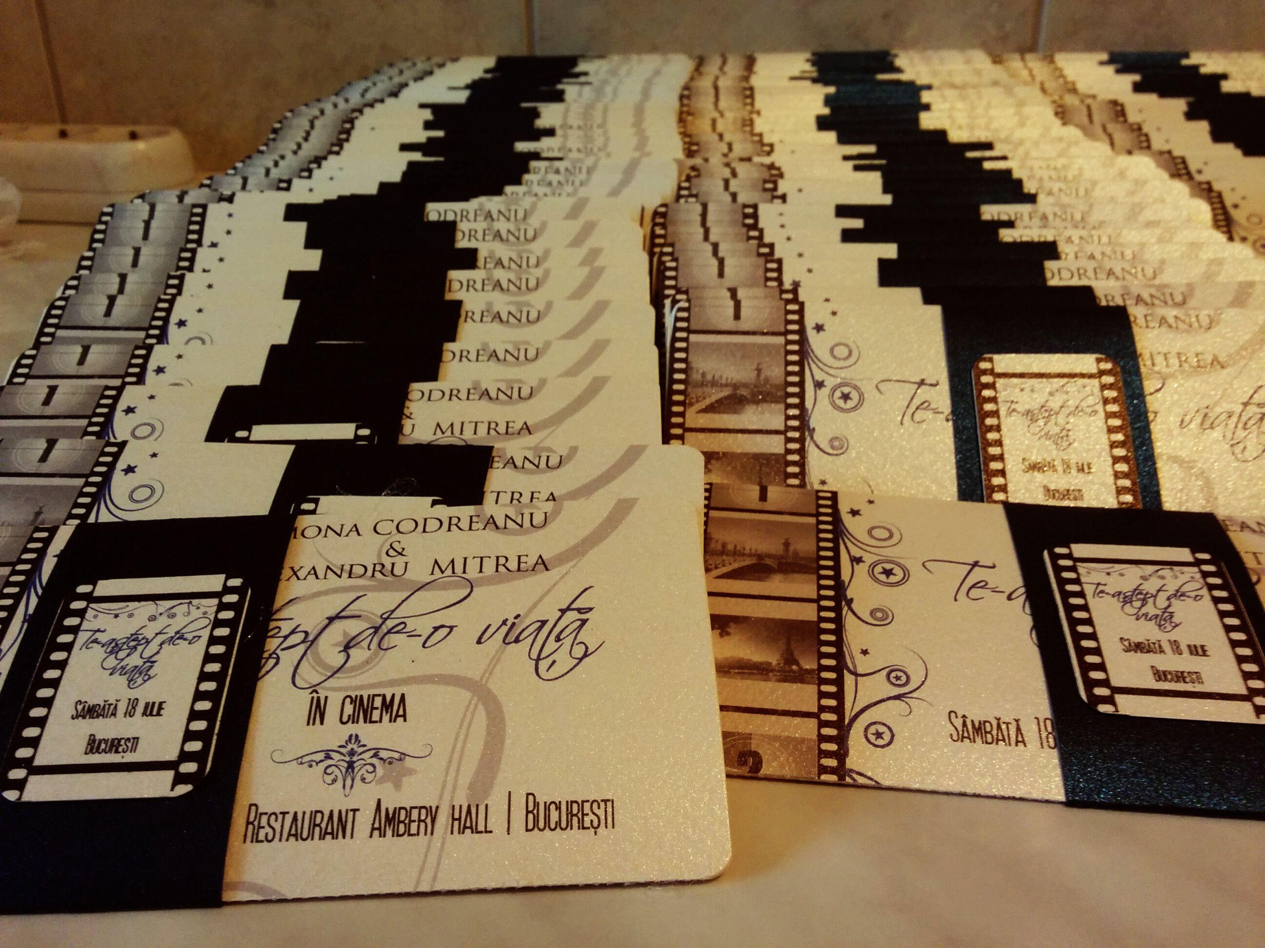 movie ticket stub wedding invitation%0A Invitatii nunta cu tematica Cinema  Movie themed inspired wedding invites
