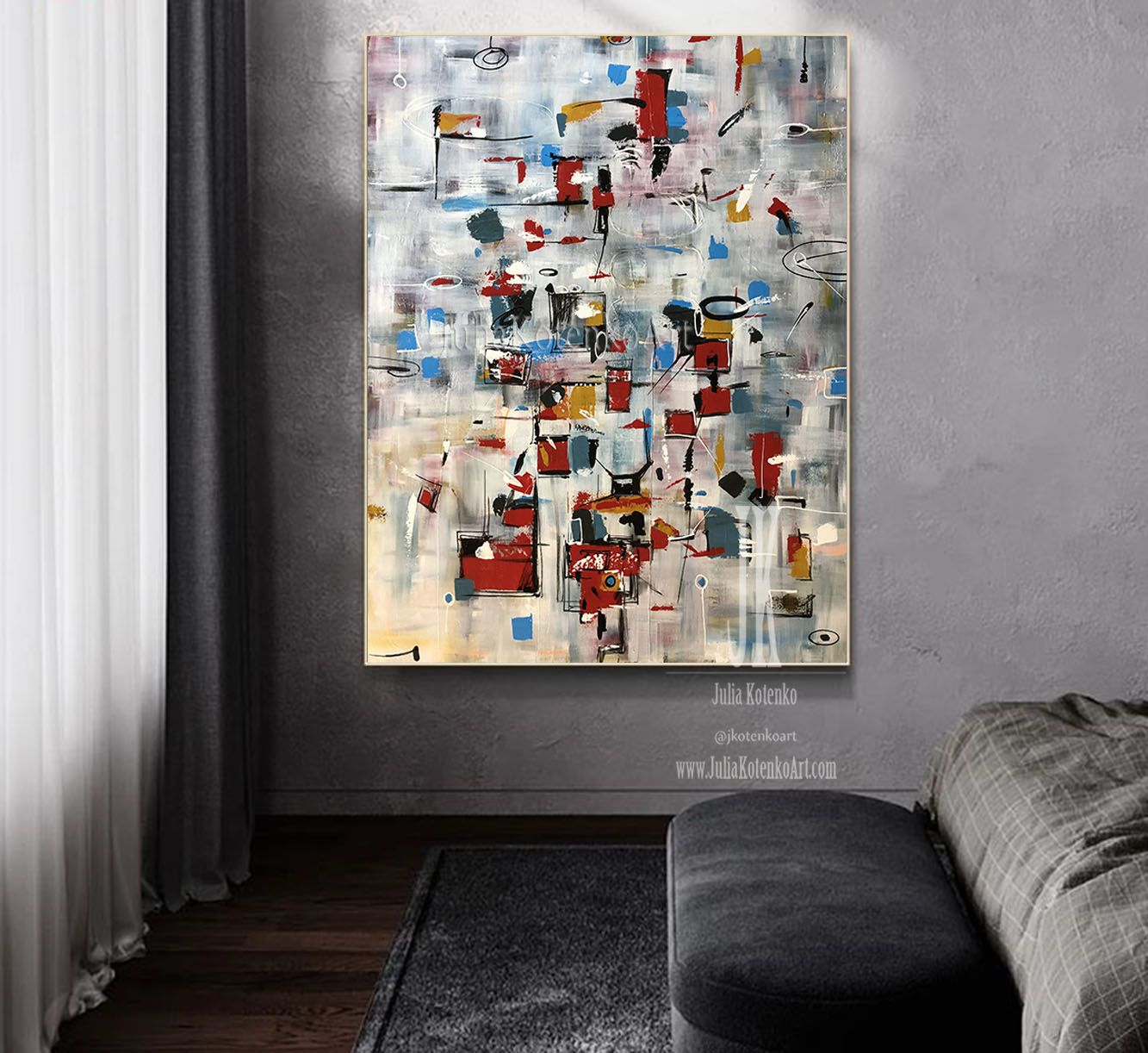 Grey Abstract Canvas Extra Large Abstract Wall Art Living Room