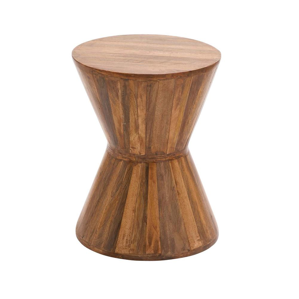 Null Natural Brown Hourglass Shaped Side Table Round Wood Table Wood Planks Accent Stool